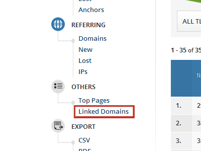 Linked domains tuşu