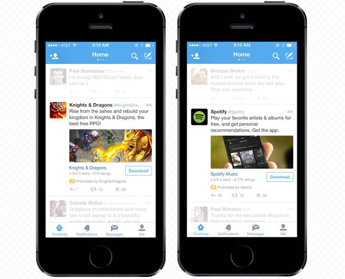 twitter uygulama indirme reklamları