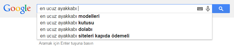 Google Arama Sorguları Önerileri